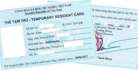 TEMPORARY RESIDENT CARD FOR FOREIGNERS IN VIETNAM/THẺ TẠM TRÚ CHO NGƯỜI NƯỚC NGOÀI TẠI VIỆT NAM